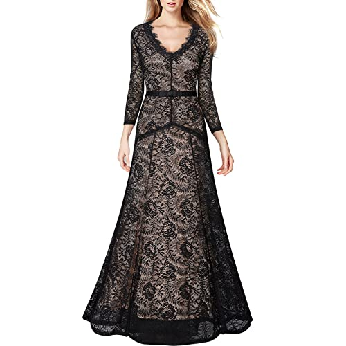 MIUSOL Womens Formal Long Evening 2/3 Sleeve Lace Dresses,V Neck Ball Gown