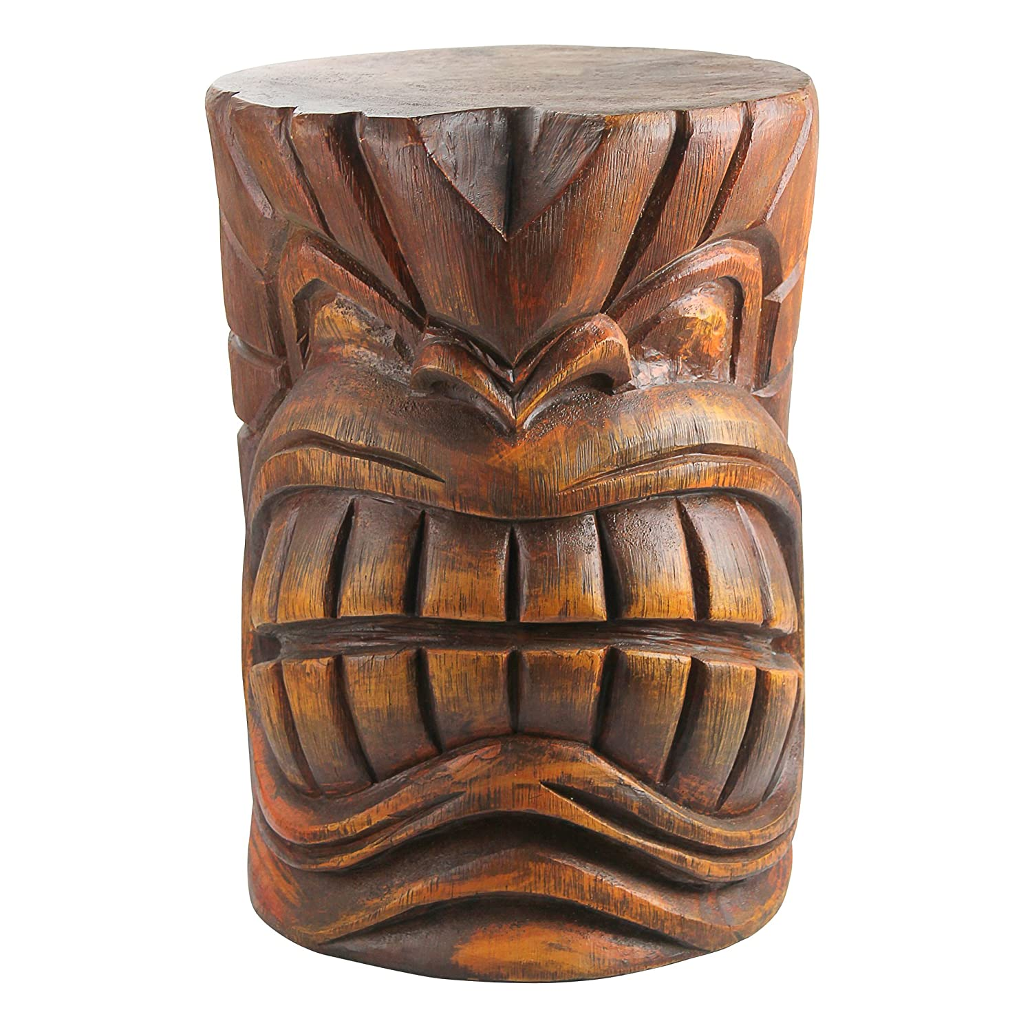 Design Toscano The Grande Tiki God Kanaloa Teeth Side Table Statue, 20 Inch, Polyresin, Woodtone