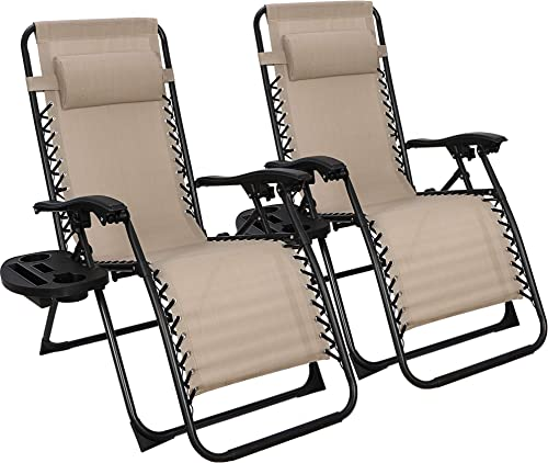 SUPER DEAL Set of 2 Reclining Lounge Chair Adjustable Zero Gravity Chair with Pillow and Utility Tray – Folding Recliners for Outdoor, Patio, Poolside, Backyard, Deck, Beach