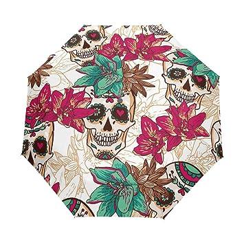 bennigiry Halloween rosa azúcar calaveras 3 Folds Auto Abrir Cerrar paraguas compacto de viento portátil durabilidad