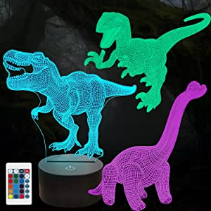 3D Dinosaur Night Light for Kids,3D Illusion Lamp 3-Pattern & 16 Colors Change Decor Nightlight with Remote Control for Living Bed Room Bar, Best Dinosaur Toys Gifts for Boys Girls Age 3-15 Gifts