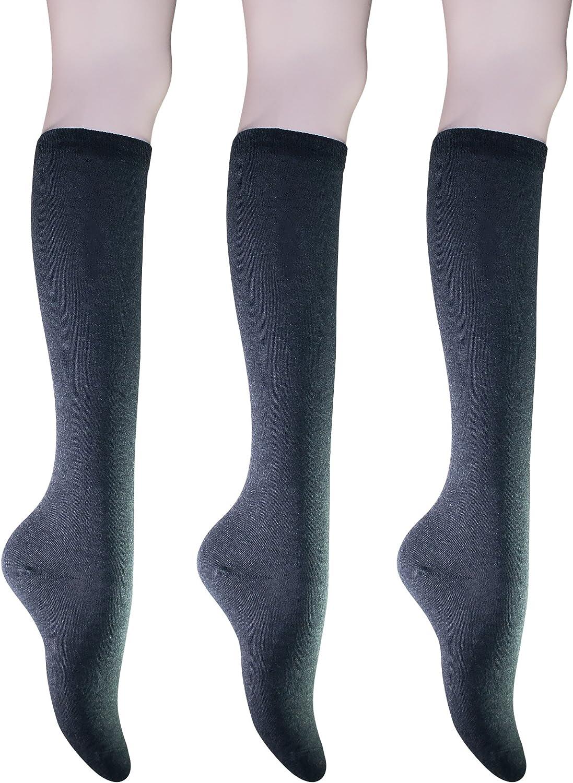 KONY Women's Cotton Knee High Socks - Casual Solid & Triple Stripe Colors Fashion Socks 3 Pairs (Women's Shoe Size 5-9)