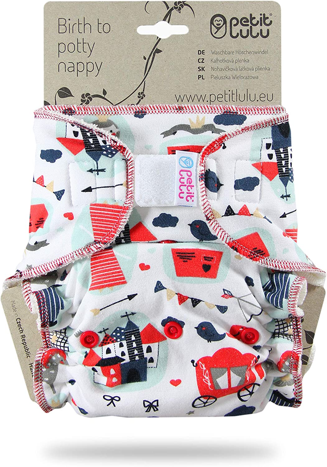 Reusable /& Washable Petit Lulu Bamboo Fitted Maxi-Night Diaper Hook /& Loop Australian Animals Made in Europe