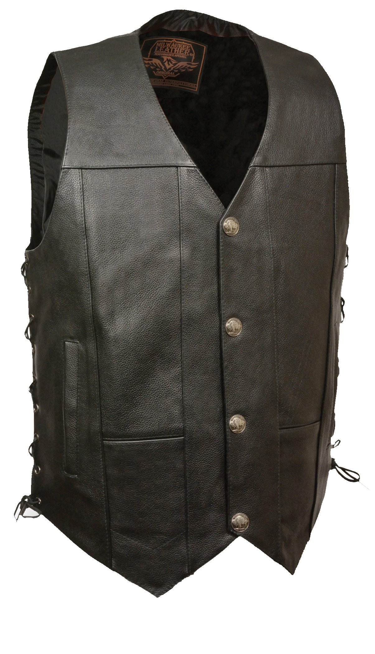 Milwaukee Men's Side Lace Vest with Buffalo Snaps (Black, Small)