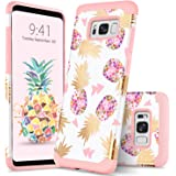 GUAGUA Galaxy S8 Case Samsung S8 Case Pineapple Girls Women Ultra Slim Hybrid Hard PC Soft Silicone Glossy Cover Anti-scratch Shockproof Protective Phone Case for Samsung Galaxy S8 Rose Gold/White