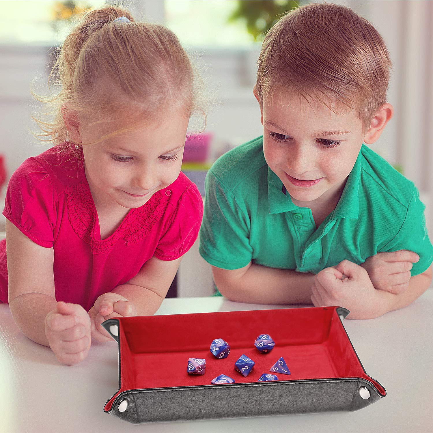 3 Pack Dice Tray for Rolling RPG DND Table Games Rectangle Folding PU Leather Tray Candy Holder Storage Box pushang