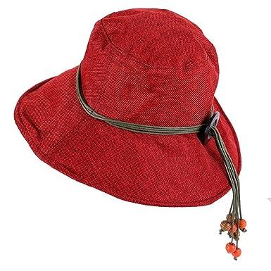 bb5ee27b JIANGTAOLANG Women's Cotton Linen Sun Hats Summer Beach Hat Panama Caps 12  Solid Colors Wine Red