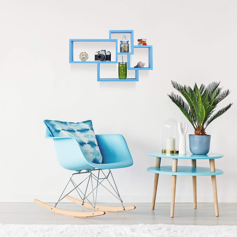 Relaxdays Estanter/ía de Pared Flotante Decorativa Blanco Madera MDF 42 x 69 x 12 cm