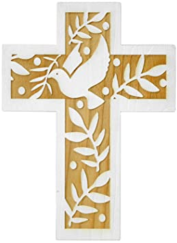 20 x 12 cm arc-en-ciel 888034 Croix en bois personnalisable pour bapt/ême et anniversaire Motif colombe