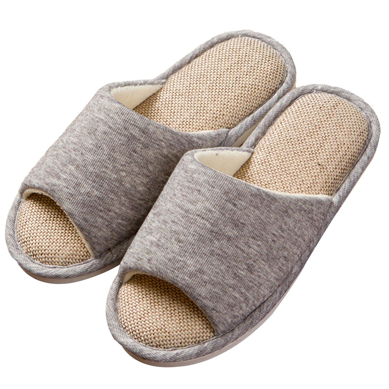 ONCAI Men's Cotton Linen Couple House Slipper Open Toe Terry Slipper (9-10.5 D(M) US, Gray-2) by ONCAI (Image #1)