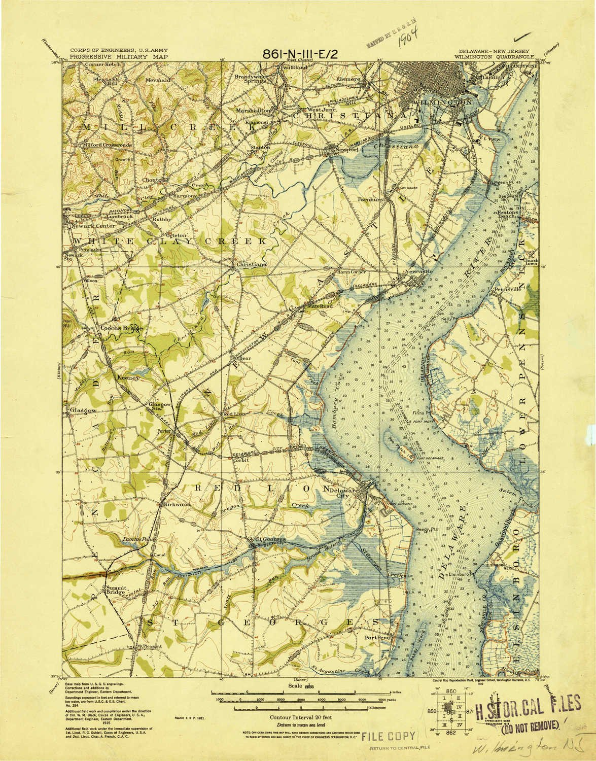 YellowMaps Wilmington DE topo map, 1:62500 Scale, 15 X 15 Minute, Historical, 1919, 21.6 x 16.9 in - Polypropylene by YellowMaps