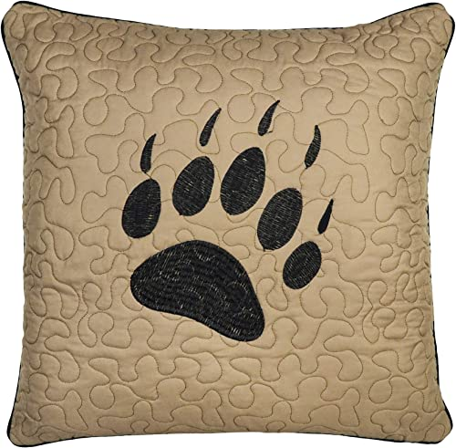 Donna Sharp Throw Pillow – Bear Walk Plaid Lodge Decorative Throw Pillow with Bear Paw Pattern – Square