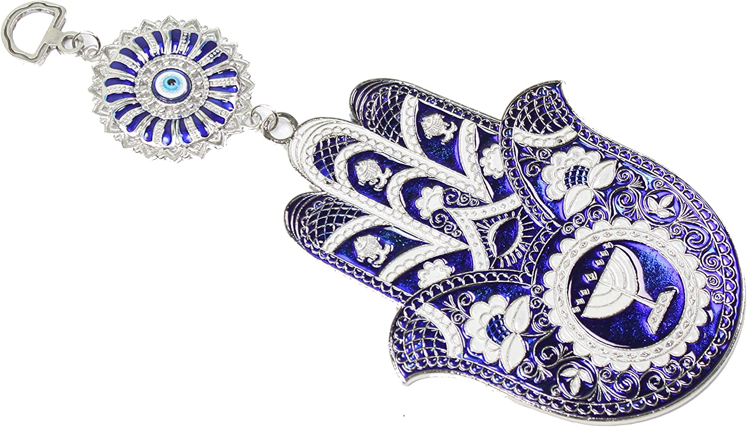 Turkish Blue Evil Eye (Nazar) Hamsa Hand Elephant Amulet Wall Hanging Home Decor Protection Blessing Housewarming Birthday Gift
