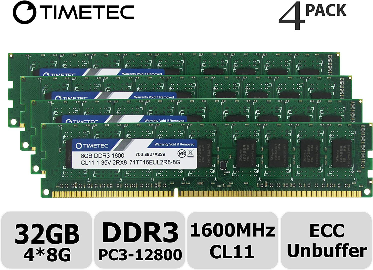 Timetec Hynix IC 32GB Kit(4x8GB) DDR3L 1600MHz PC3-12800 Unbuffered ECC 1.35V CL11 2Rx8 Dual Rank 240 Pin UDIMM Server Memory Ram Module Upgrade (32GB Kit(4x8GB))