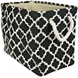 """DII Collapsible Polyester Storage Basket or Bin with Durable Cotton Handles, Home Organizer Solution for Office, Bedroom, Closet, Toys, & Laundry (Large – 18x12x15""""), Black Lattice"""