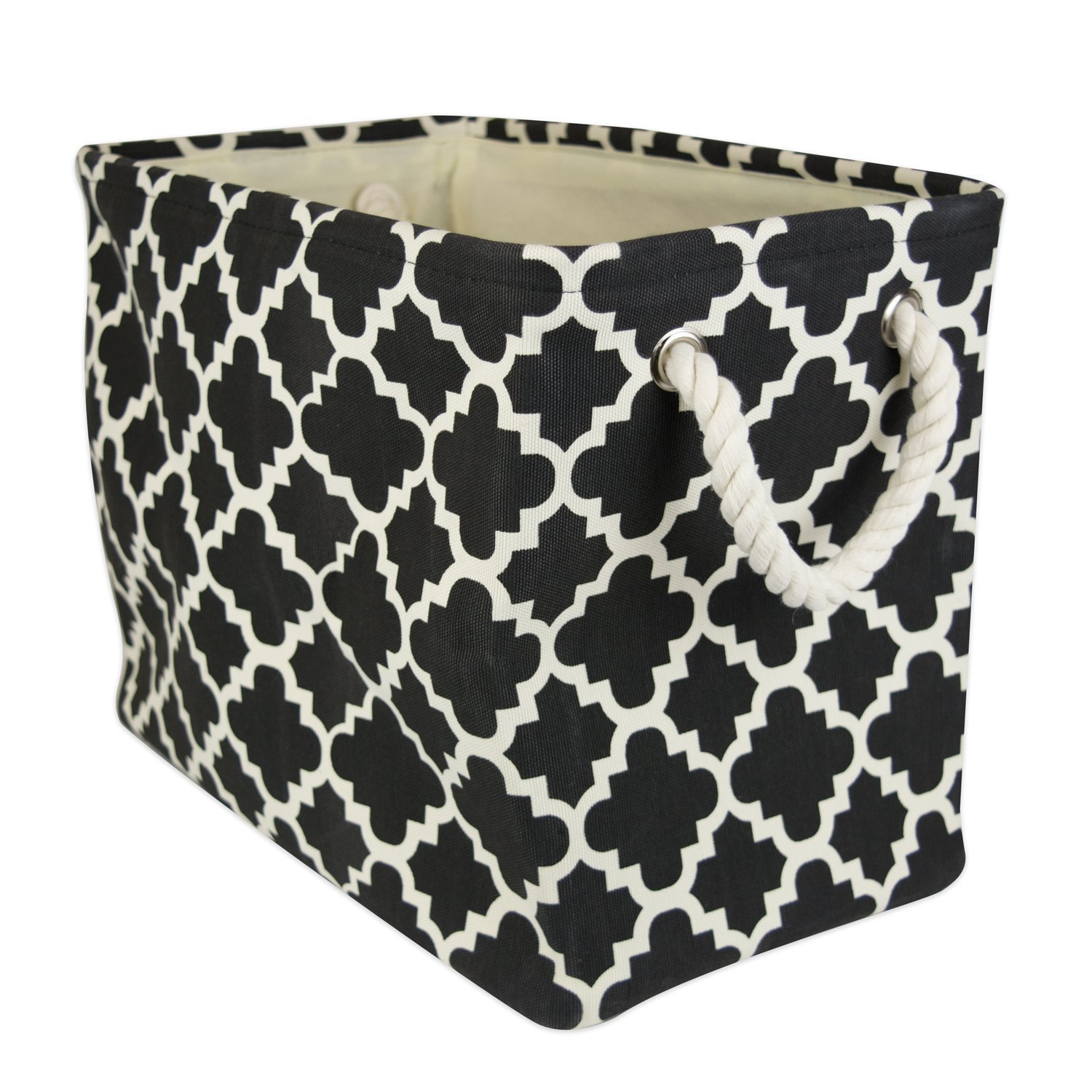 """DII Collapsible Polyester Storage Basket or Bin with Durable Cotton Handles, Home Organizer Solution for Office, Bedroom, Closet, Toys, & Laundry (Large – 17.75x12x15""""), Black Lattice"""