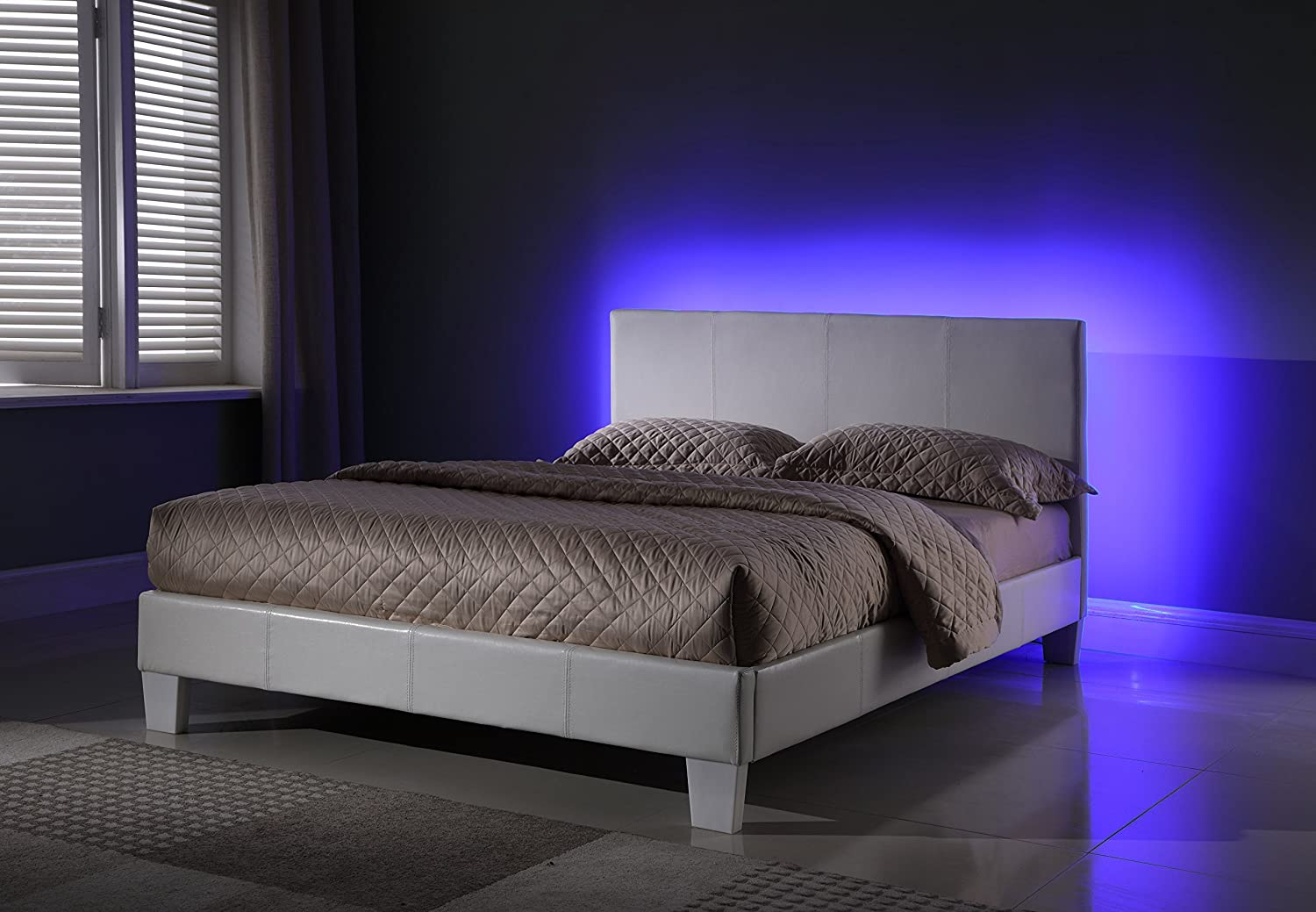 MALKO 8079-Q, Queen White Faux Leather Platform Bed with Built in LED Lights