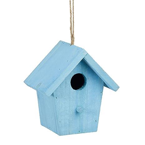 Relaxdays Maison A Oiseaux Nichoir Perchoir En Bois Colore A Suspendre Hxlxp 16 X 15 X 11 Cm Bleu