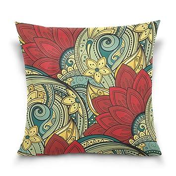 Amazon.com: Ye Store abstracto Lotus Algodón Throw Pillow ...