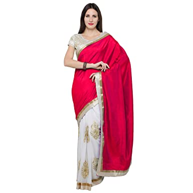 3a084906f0 Amazon.com: Taadrashya Sarees for woman white and red heavy embroidered  latest design in georgette and silk saree for partywear/wedding/bridal/festival  ...