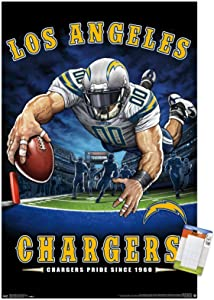 """Trends International NFL Los Angeles Chargers - End Zone 17 Wall Poster, 22.375"""" x 34"""", Premium Poster & Mount Bundle"""