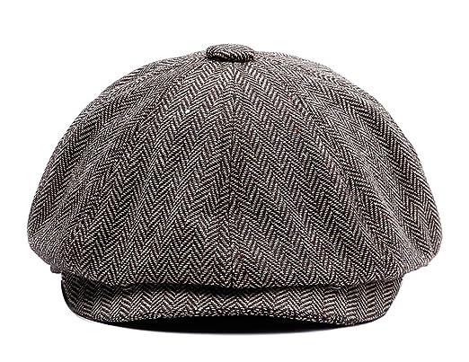 cd9f839bb Vintage Newsboy Style Mens Herringbone Tweed Flat Cap Winter Warm  Hat(58cm,60cm)