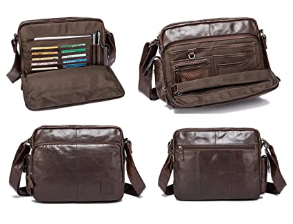 Image Unavailable. Image not available for. Color  Urmiss Classic Multi-pocket  Mens Leather Messenger Bag ... e6196b84e7584