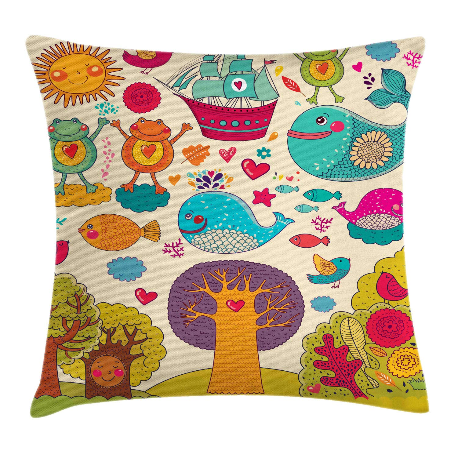 Lunarable Nursery Throw Pillow Cushion Cover, Funny Wildlife Illustration with Forest Animals Trees Clouds Hearts and a Ship, Decorative Square Accent Pillow Case, 24'' X 24'', Multicolor by Lunarable