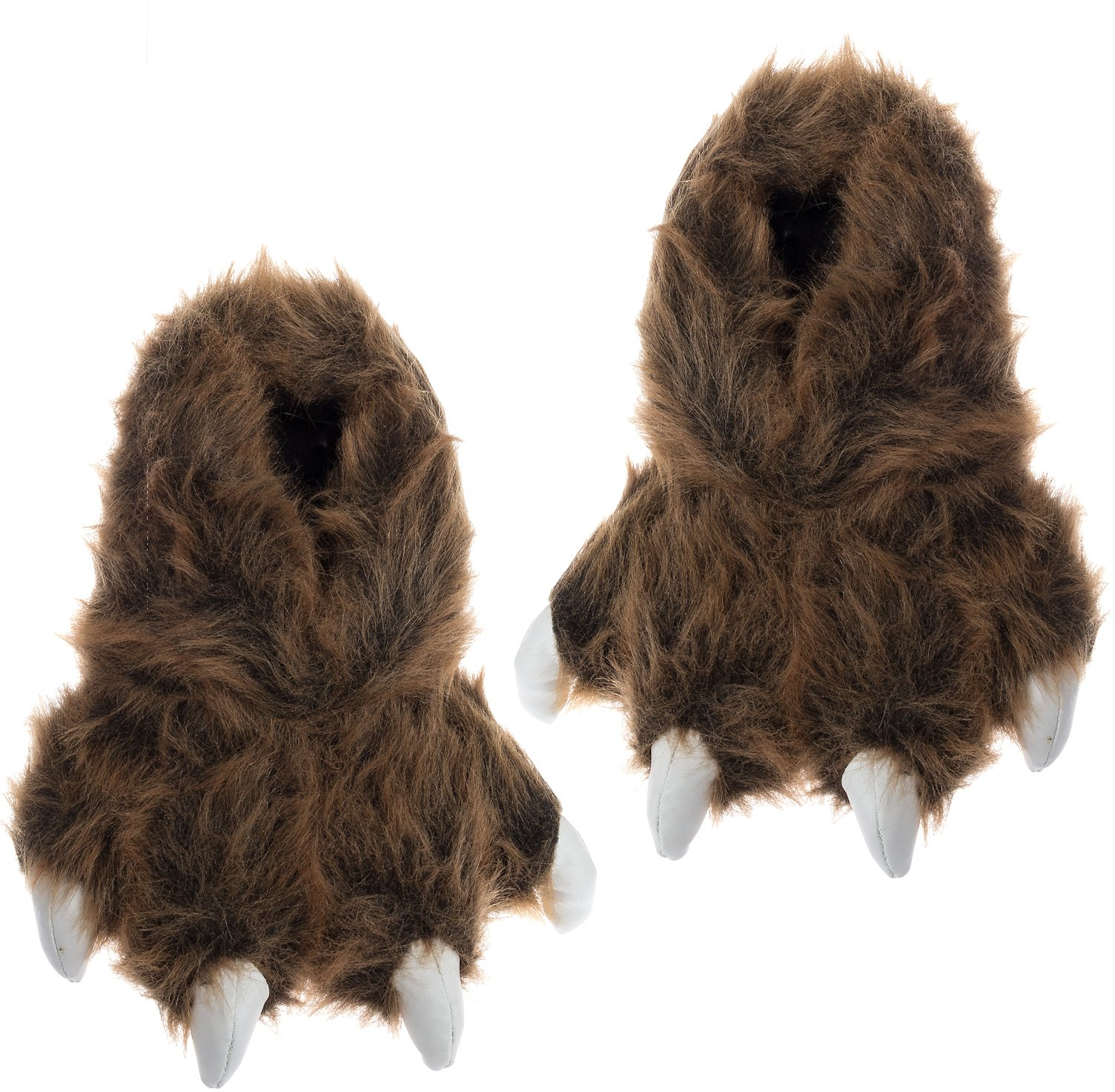 Wishpets Grizzly Bear Paw Slippers w/White Claws (Brown, M)