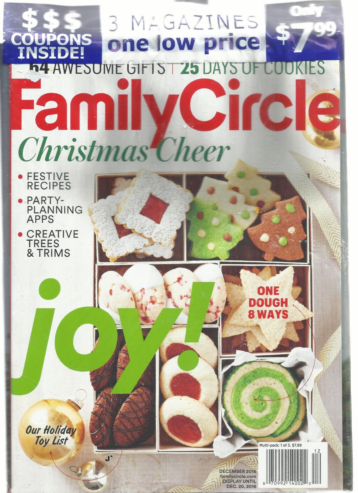 3 MAGAZINES EVERY DAY * BETTER HOMES & FAMILY CIRCLE DECEMBER, 2016 (LOT OF 3