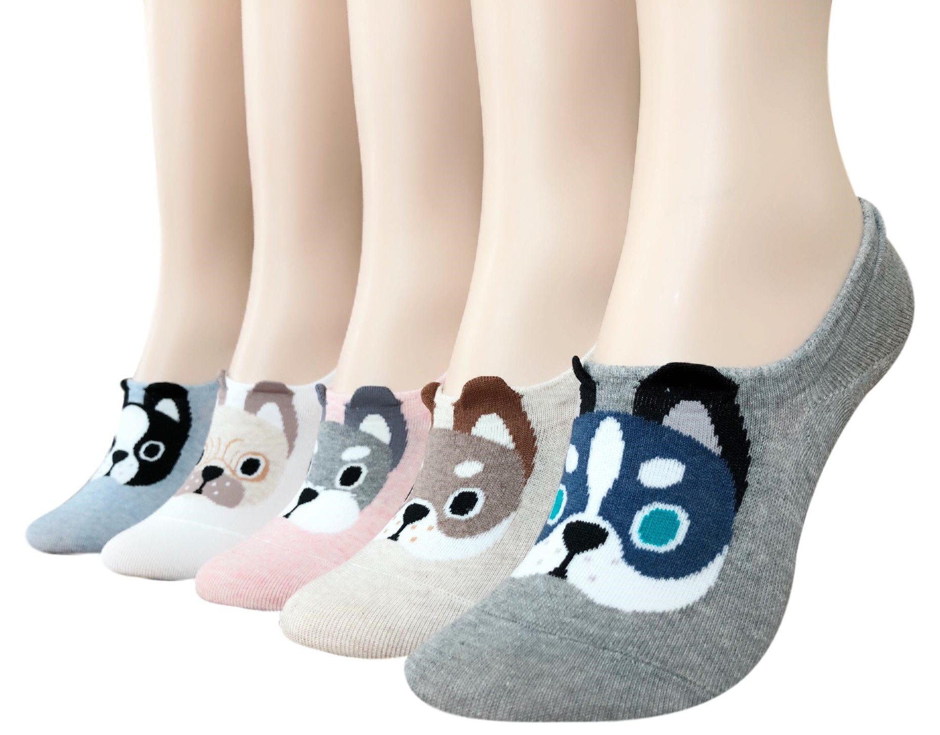 Womens Teen Girls Liner No Show Socks Cute Puppies Casual Cotton Liner No Show Socks, Great Gifts (Cute Dogs)