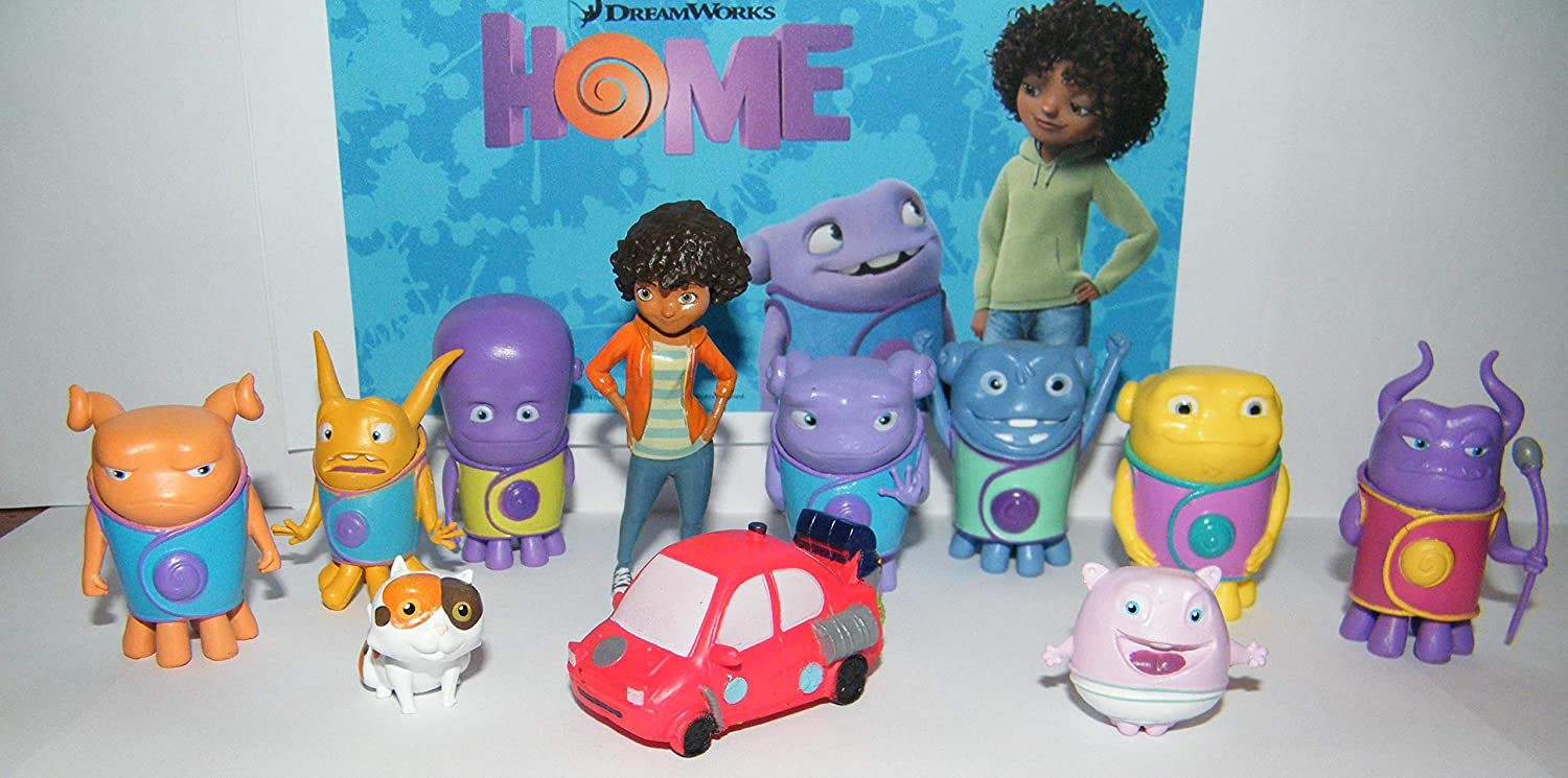 HappiToys DreamWorks Home Movie Deluxe Figure Set of 12 Toy Set with Captain Smek, Babby Boov, Oh, Kyle, Pig, The Red Space Car and Much More!