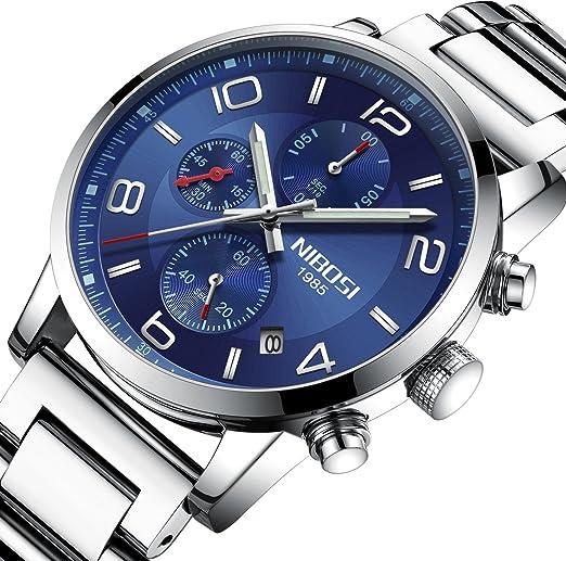 Nibosi - Reloj de pulsera para hombre, resistente al agua, cronógrafo, cuarzo militar