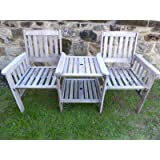 Love Seat Cream Cushions UK-Gardens Heavy Duty Brown Wooden Garden Love Seat Bench With Parasol Hole and Table