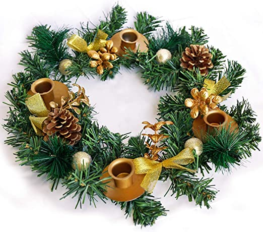 GOLD Ribbon Wreath Candle Holder Centerpiece Christmas with Advent Candles