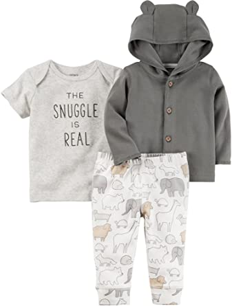 229e2180d Amazon.com: Carter's Baby 3 Piece The Snuggle is Real Tee, Hooded Cardigan,  Animal Pants Set: Clothing