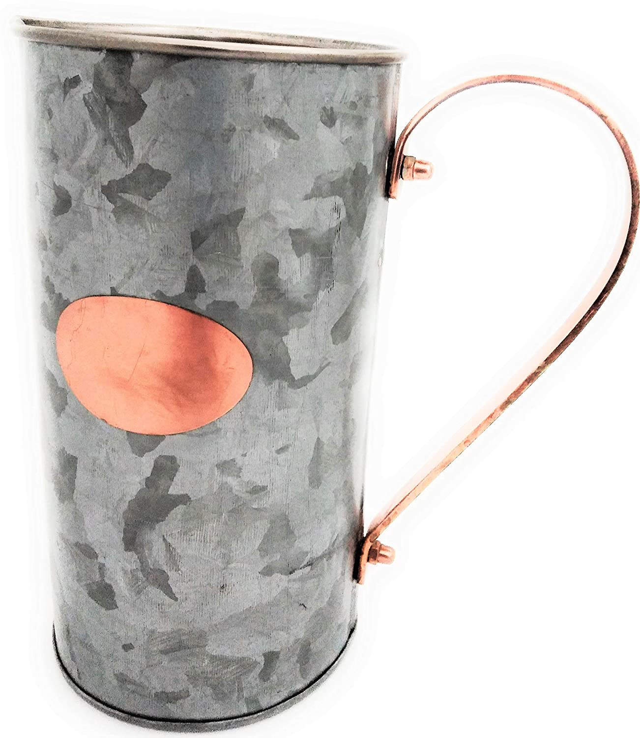 Galrose Decorative Water Pitcher//Carafe-Galvanized Iron Drinks//Juice Serving Jug Waterproof for Flower Arrangements Stainless Steel Lined Rose Gold Plaque /& Handle 6th Wedding Anniversary Gift Idea