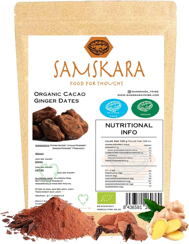 Choco Datiles al Jengibre BIO | Datiles Deshuesados Ecológica saboreada | Dulce saludable | Chocolate | como Trufas - Vegano Sin Gluten (1 kg)