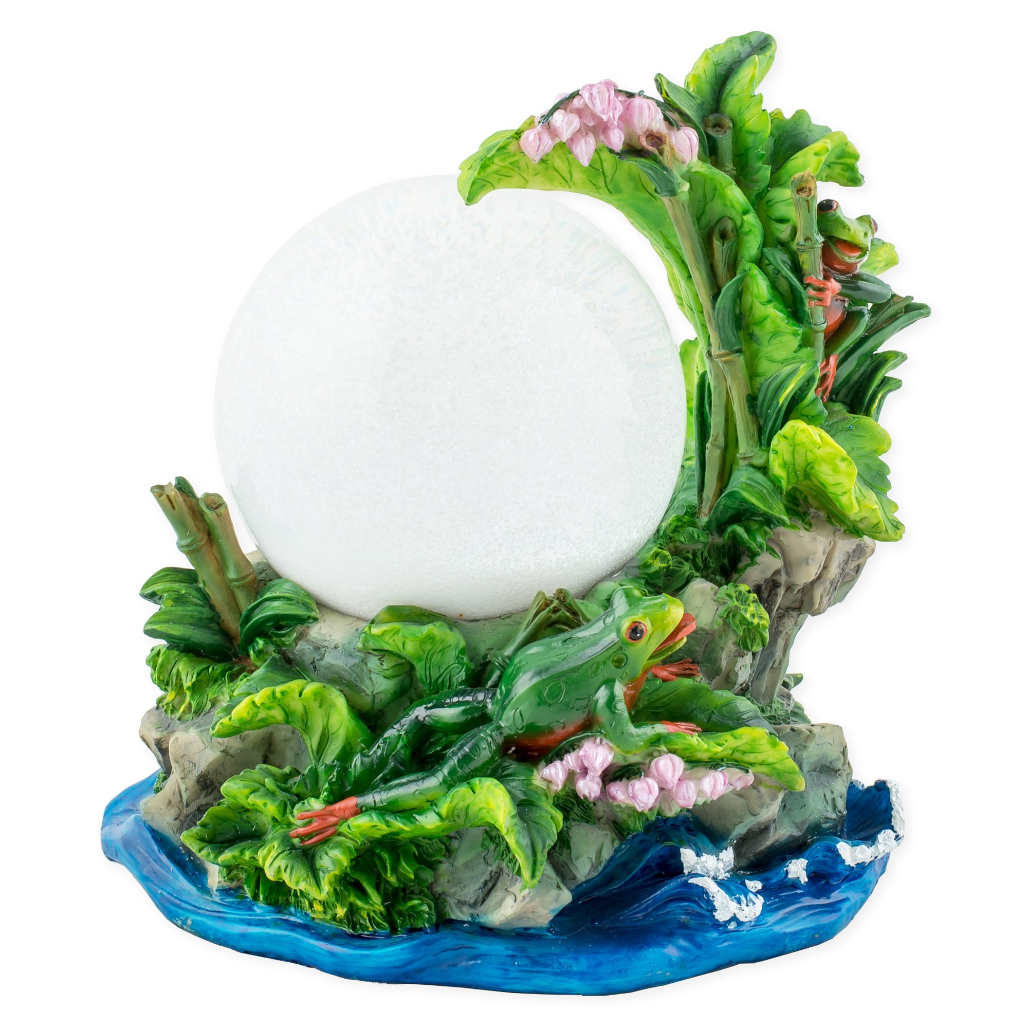 Cadona International, Inc Playful Tree Frogs 100mm Resin 3D Water Globe Plays Tune Beautiful Dreamer