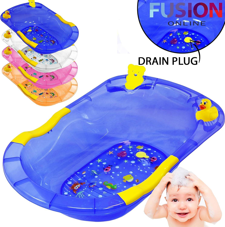 Kids Infant Bath Tub Bathing Accessories Foldable Baby Bath Tub 87 x 59 x 22.5 cm Baby Care Product White//Purple
