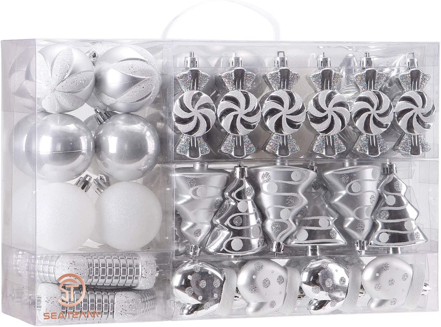 Sea Team 77-Pack Assorted Shatterproof Christmas Balls Christmas Ornaments Set Decorative Baubles Pendants with Reusable Hand-held Gift Package for Xmas Tree (Silver)