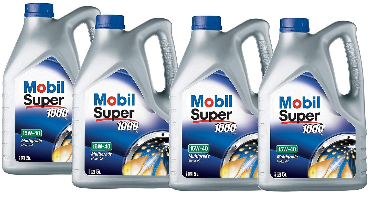 Mobil 151180 Super 1000 X1 - Aceite de Motor 15W-40, Pack 20 ...