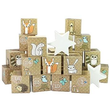 LD Navidad decoración DIY Calendario de Adviento Cajas Juego - Diseño de Papá Noel - 24 cajas multicolores: Amazon.es: Jardín