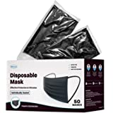 WeCare Individually Wrapped Disposable Face Masks - 50 Pack, Black -Soft on Skin - 3 Ply Protectors with Elastic…