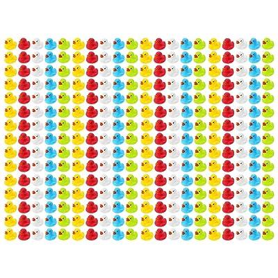 Wellgro Pato de baño 300 (Amarillo, Rojo, Blanco, Azul, Verde), Cada Pato de Goma Mide Aprox. 3,5 x 3 cm (diámetro x Altura), Patito de Goma, en Red.: Hogar