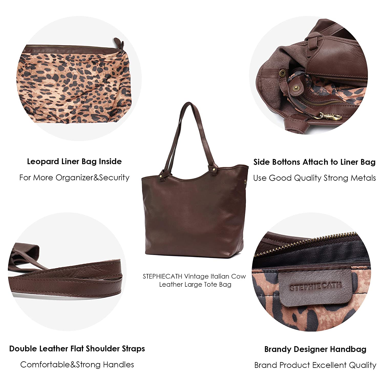 Amazon.com  STEPHIECATH Women Bags Vintage Cow Leather Shoulder Bag Large Tote  Luxury Real Skin Female Handbag Liner Bag (BROWN)  Musical Instruments f5f3b25db0d42