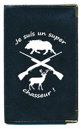 Pochette Etui Portefeuille Homme porte monnaie cartes  papiers Drapeau Chasseur Interieur