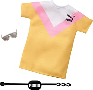 Barbie Clothes: Puma Branded Outfit Doll with 2 Accessories, T-Shirt, Multicolor