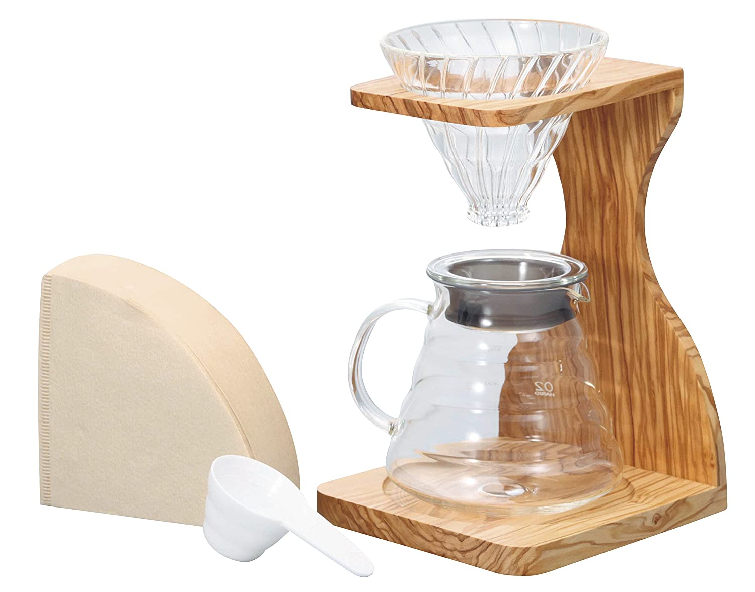 5 Component Set Hario V60 Olive Wood Single Stand
