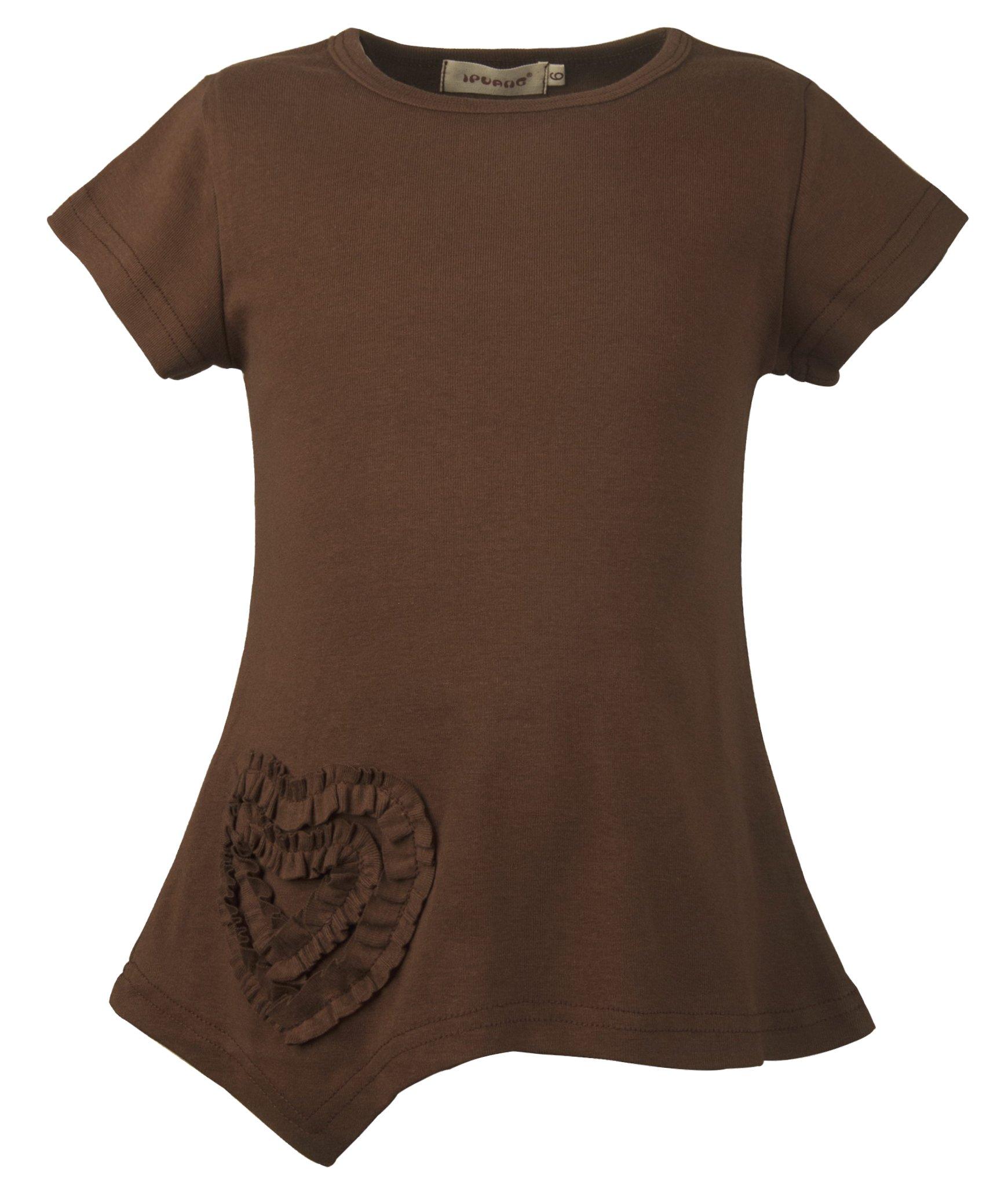 Ipuang Little Girls Heart Shaped Casual Cotton Cap Sleeve Tee T Shirt Top Brown 6